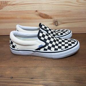 VANS White Black Checkered Slip On Men's 6.5